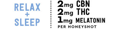 Relax + Sleep 3mg CBN, 2mg THC, 1mg Melatonin per HoneySh9ot